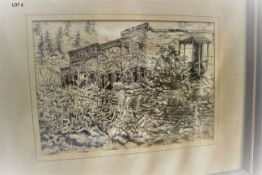 """LOCAL HOTEL w/ SALOON 16"""" X 20 SIGNED PEN & INK"""