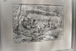 """ONCE A WAGONN 16"""" X 20"""" SIGNED PEN & INK"""