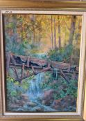 """OLD WATER SLUICE 18"""" X 24"""" OIL SIGNED"""