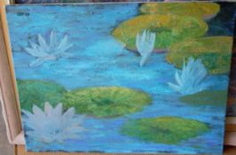 """LILLIES IN WATER 18"""" X 24"""" SIGNED"""
