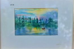 CANOER AT DUSK WATERCOLOR 6 X 4 SIGNED