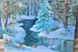 """SNOWDAY 18"""" X 2"""" OIL SIGNED"""