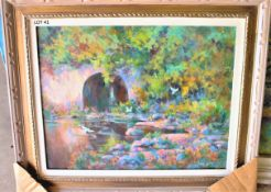 """ONCE A SWIMMIMG HOLE 22"""" X 28"""" OIL SIGNED"""