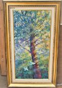 """UP THE TREE TOP 12"""" X 24"""" OIL SIGNED"""
