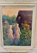 """GATHERING EGGS 18"""" X 24"""" OIL SIGNED"""