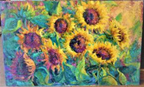 """SUNFLOWERS 30"""" X 48"""" OIL SIGNED"""