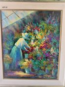 """GREEN HOUSE MAGIC 20"""" X 24"""" OIL SIGNED"""