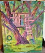 """TROPICAL TREE 22"""" X 28"""" SIGNED"""