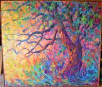 """TREE IN BLOOM 49"""" X 45"""" SIGNED"""