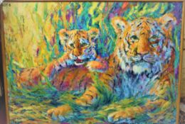 """AFTERNOON REPOSE 36"""" X 48"""" OIL SIGNED"""