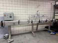 CUSTOM BUILT 15' 12 NOZZLE FILLING LINE WITH HOPPER. PUMPS AND MISC LINES