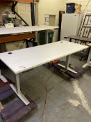 WHITE ELECTRIC ADJUSTABLE TABLE 71X30