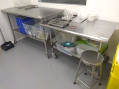 (2) Castered Stainless Steel Workbenches