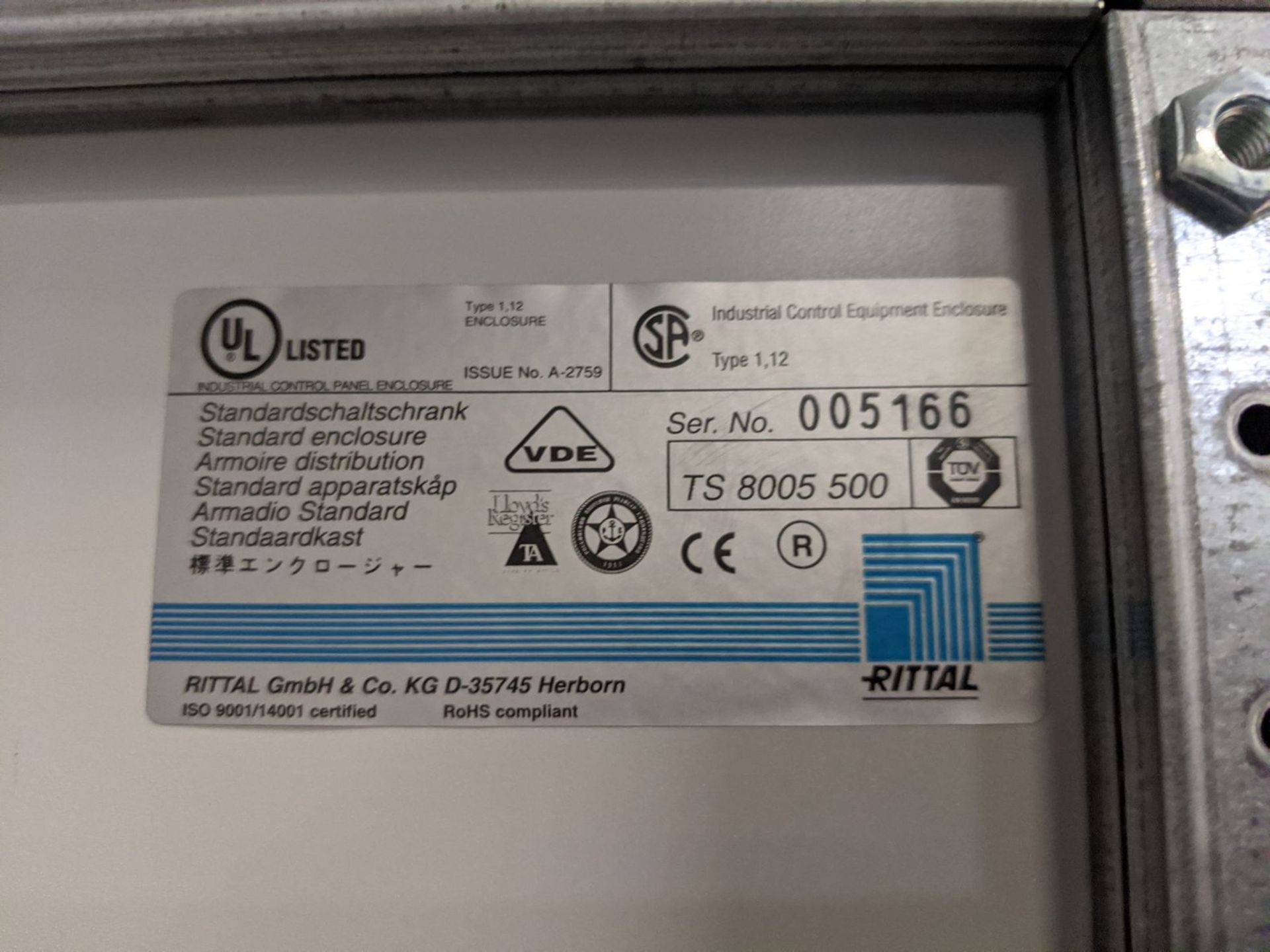Rittal 2-Door Electrical Control Cabinet - Image 5 of 5