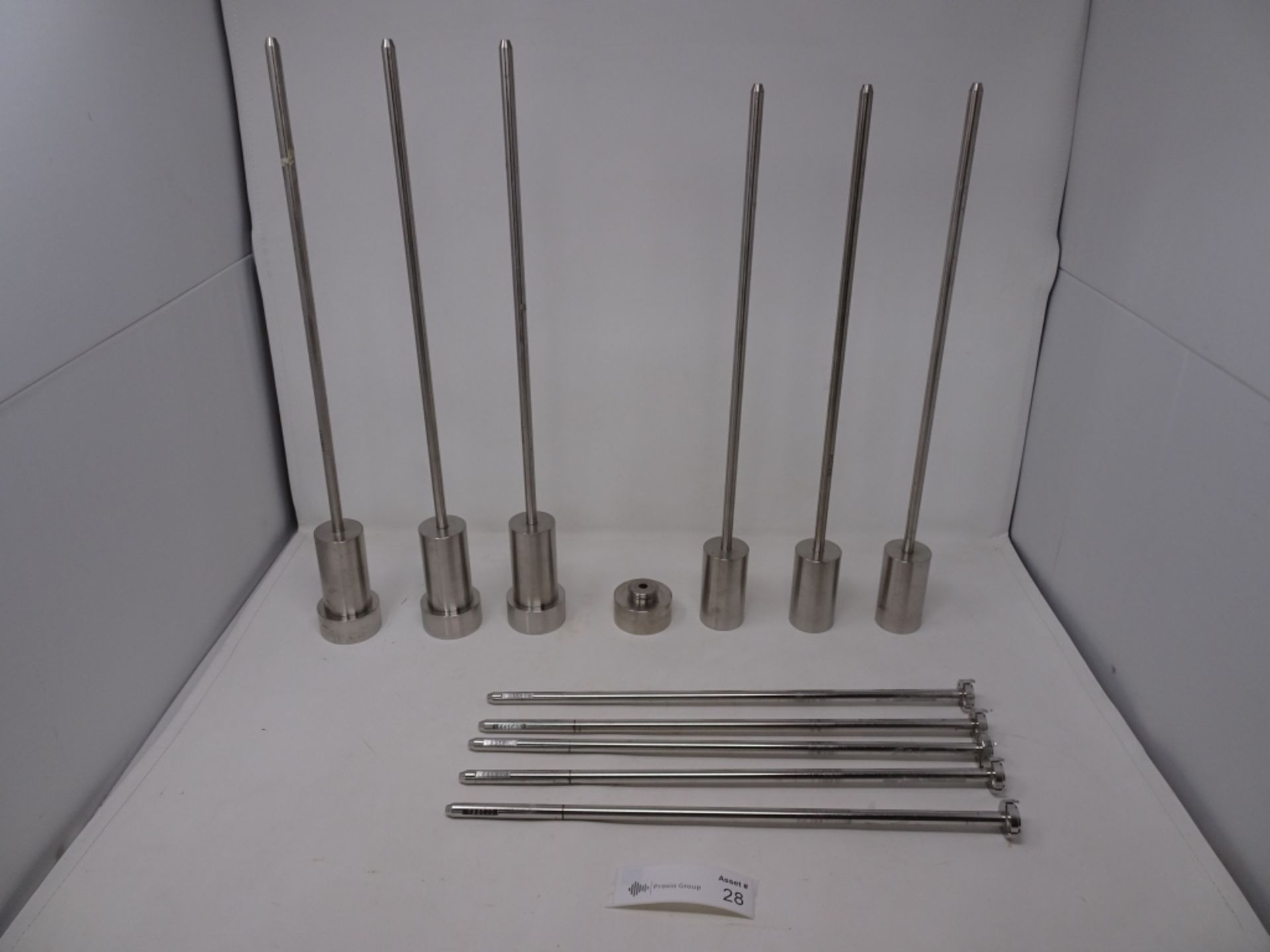 Lot of Distek Mixing Rods With (4) Stainless Steel Tablet Dissolution Cylinders With Caps