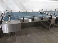 """Trio-Pac Series 6399 48"""" x 94"""" Surge Style Conveyorized Bottle Collection Table Mfd 05/00,"""