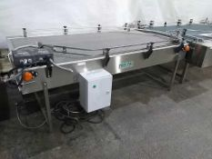 """Trio-Pac Series 7231T1 48"""" x 92"""" Surge Style Conveyorized Bottle Collection Table Mfd 06/07, With ("""