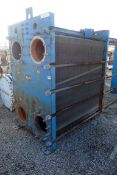 Graham Plate Heat Exchanger, 3771 Square Feet, Model GPE-85. Stainless steel plates rated 150 psi
