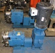 3503753 Waukesha Cherry Burrell Pump w Waukesha Gear w Baldor 10hp Motor w Metal Base