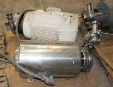 3418966 Tri-Clover Mdl CS28MF25 SS EnclosedTri Flow Pump w 10 HP Motor & 3418968 Waukesha Cherry