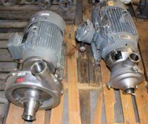 3418983 Alpha Laval 9654084668 Pump w 10 hp Motor & WaukeshaCherry Burrel Pump w Sterlining Electric