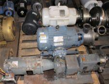 3418977 Wukesha Cherry Burrell Mdl 208LR Pump w Baldor 10hp Motor & Pump w Baldor 5HP Motor &