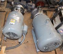 3418993 Alpha Laval 9634088311 Pump w Baldor 15hp Motor & Waukesha Cherry Burrell Pump w Baldor CEWD