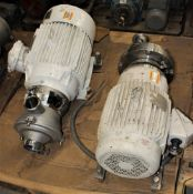 3418986 Alpha Laval 9634084668 Pump w 10hp Motor & 3418965 Waukesha Cherry Burrell Pump w Baldor