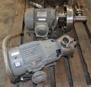 3418971 Waukesha Cherry Burrell Pump w 10 hp Motor & Reliance Electric P2161156A 7.5 hp Motor w