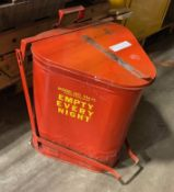 Red Flamable trash can