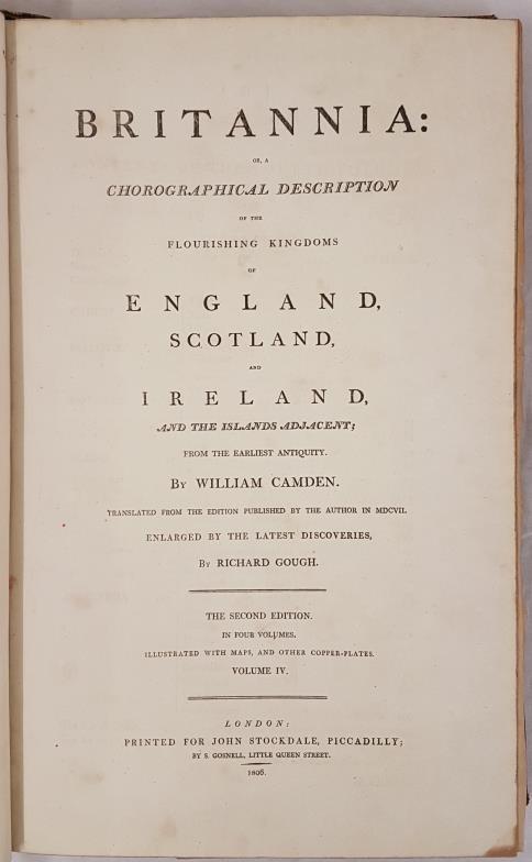 Richard Gough. Camden's Britannia. 1806. England, Scotland & Ireland. Large folio. 300 pages - Image 2 of 6