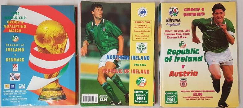 Republic Of Ireland International Soccer Match Programmes 1993 (6), 1994 (11) and 1995 (8) (25)