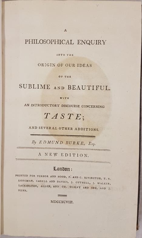Edmund Burke. A Philosophical Enquiry into the origin of our ideas of the Sublime and Beautiful. - Image 2 of 4