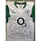 Ireland Rugby Squad. Signatures include Joe Schmidt (coach), Brian O Driscoll, Paul O Connell,
