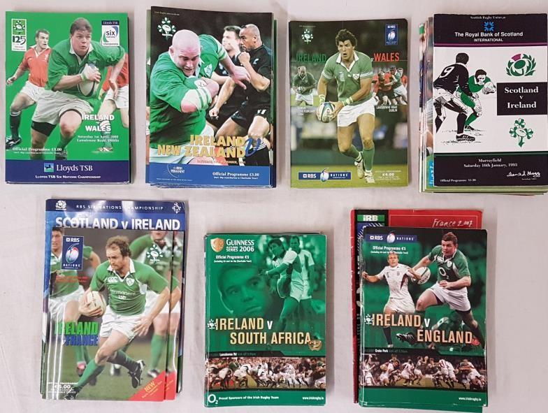 Bundle of Irish Rugby International Programmes for 2000 (3), 2001 (9), 2002 (2), 2003 (9), 2005 (3),