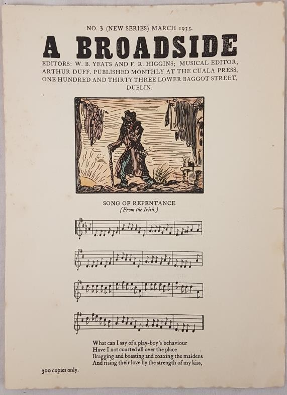 Original Cuala Press Broadside, March 1935. A Broadside. Editors W. B. Yeats and F. R. Higgins at