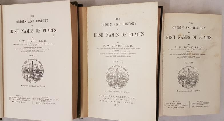 The origin and History Irish names of Places by P. W. Joyce. Volume 1, 2 [1912] and 3 in later cloth - Image 2 of 2