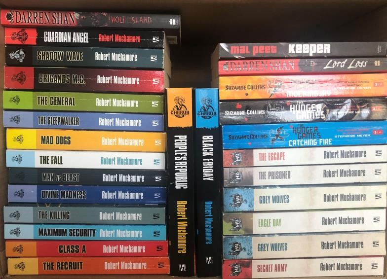 Young Adult Fiction – box of books including a near full set of the Cherub Series by Robert