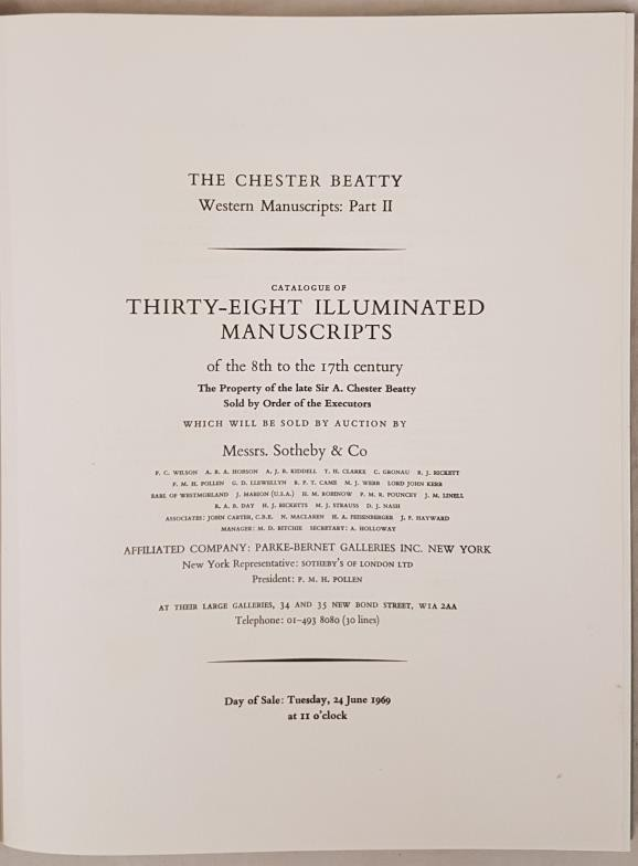 Sothebys of London. Hard back catalogue re sale of Thirty-Eight manuscripts from the 8th to - Image 2 of 5