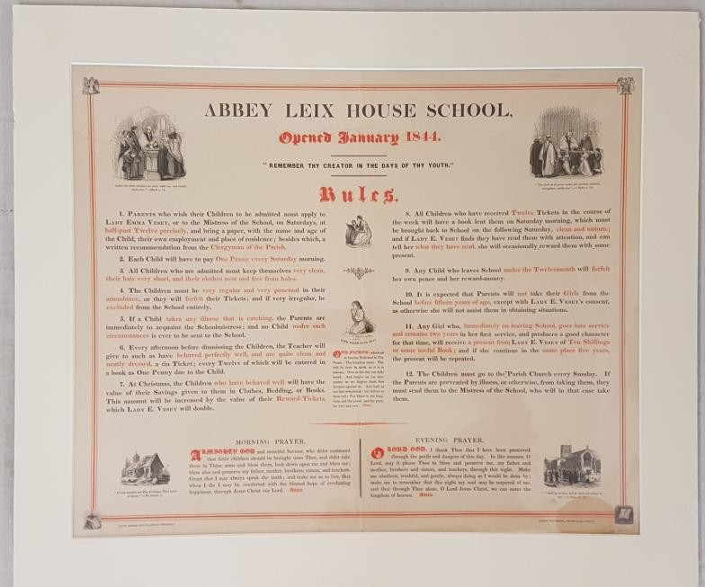 Abbey Leix House School. Rules. Opened January 1844. Broadsheet (52 x 44cms). Printed in red and