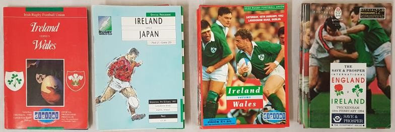 Bundle of Irish Rugby International Programmes for 1990 (2), 1991 (8), 1992 (6) and 1994 (6) (22)