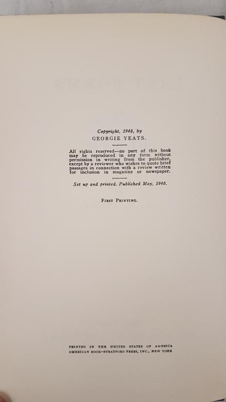 YEATS, W.B. Last Poems & Plays. New York: Macmillan, 1940. First edition. 8vo. pp. vii, [1], 125, [ - Image 3 of 3