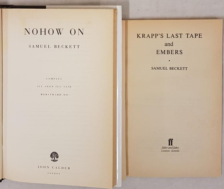 Samuel Beckett. Nohow On. 1989. 1st in pristine d.j. and S. Beckett. Krapp's Last Tape. 1983 (2) - Image 2 of 2