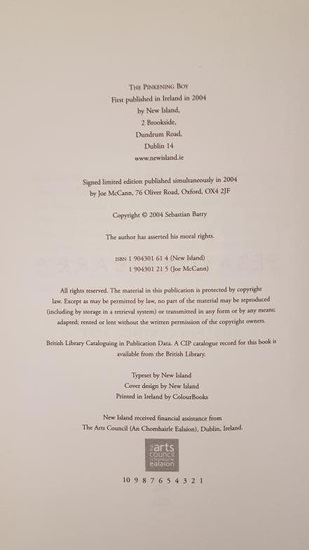 Barry, Sebastian. The Pinkening Boy. Dublin & Oxford: Joe McCann. First edition. 8vo. One of 20 - Image 3 of 3