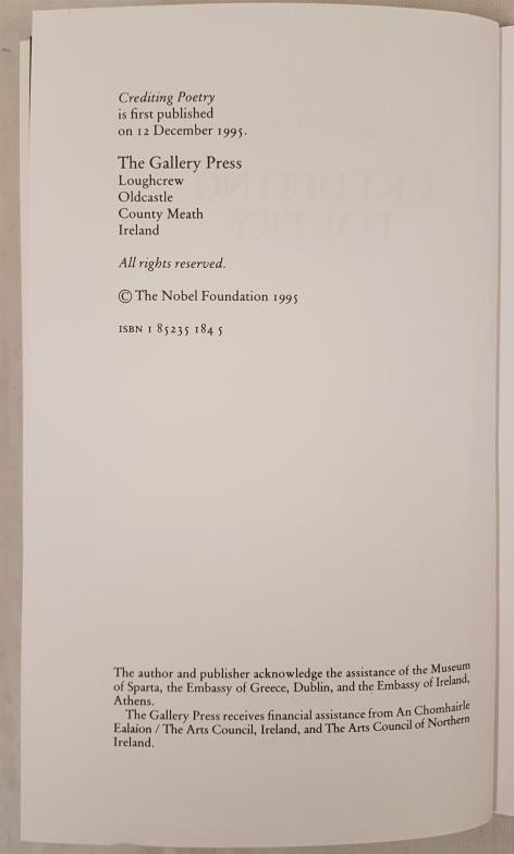 Heaney, Seamus. Crediting Poetry. The Nobel Lecture 1995. Loughcrew: The Gallery Press, 1995. - Image 3 of 3