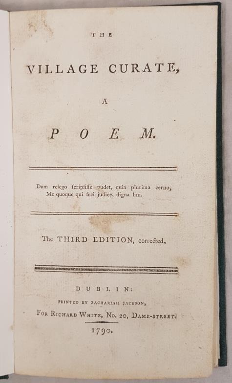 The Village Curate a Poem. Third Edition. [James Hurdis] Dublin, Zachariah Jackson. 1790. Modern