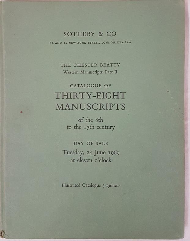 Sothebys of London. Hard back catalogue re sale of Thirty-Eight manuscripts from the 8th to