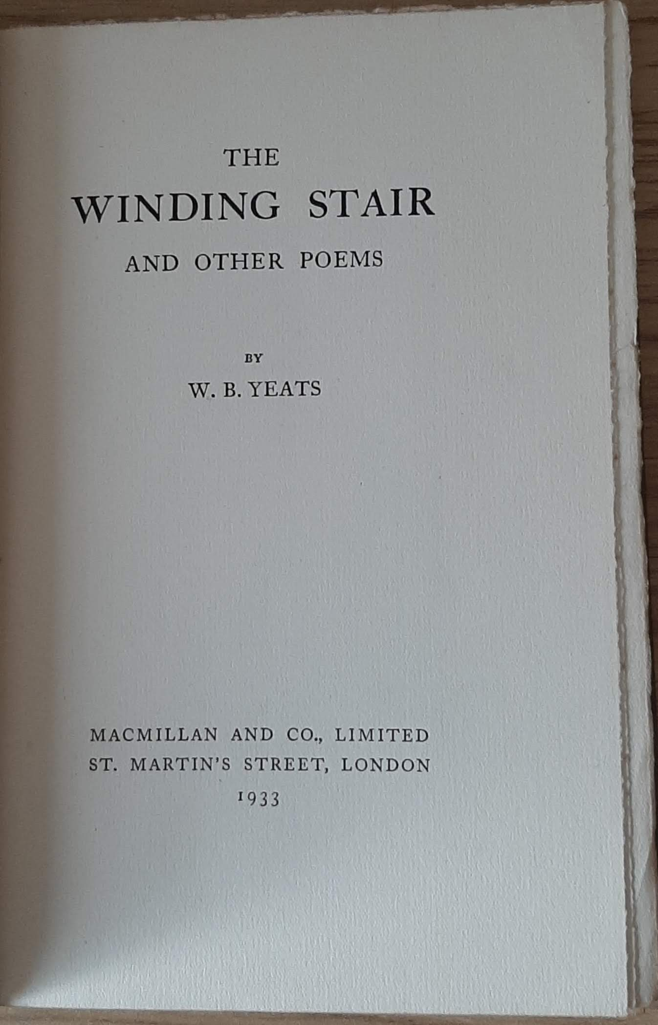 W.B. Yeats – The Winding Stairs and Other Poems (1933, 1st ed, 2nd impression). Intricate blind- - Image 2 of 4