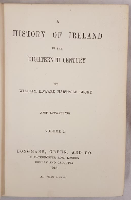 A History of Ireland in the Eighteenth Century by William Hartpole Lecky. 5 volume set in cloth. - Image 2 of 2