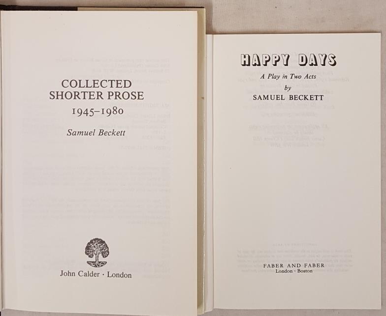 Samuel Beckett. Shorter Prose 1995-1980. Dust jacket and S. beckett. Happy Days. 1981. (2) - Image 2 of 2